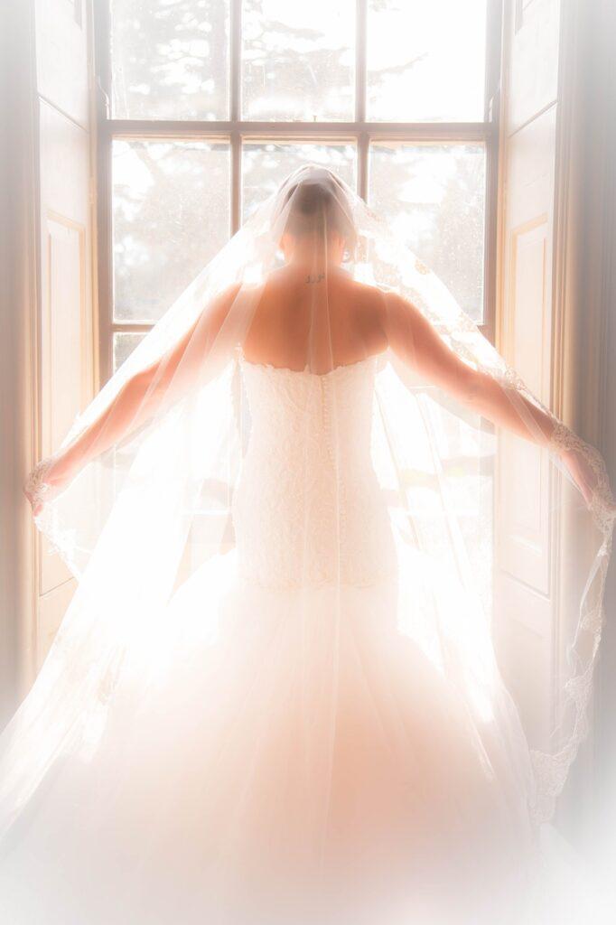 bridal, wedding dress, window